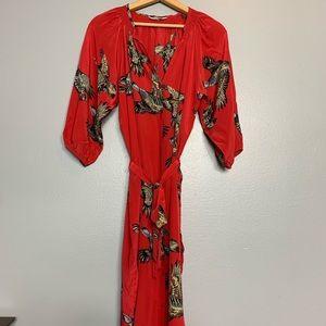TUCKER | red pheasant silk shirt dress medium